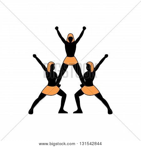 Human figures pyramid cheerleading team vector illustration isolated on white background.