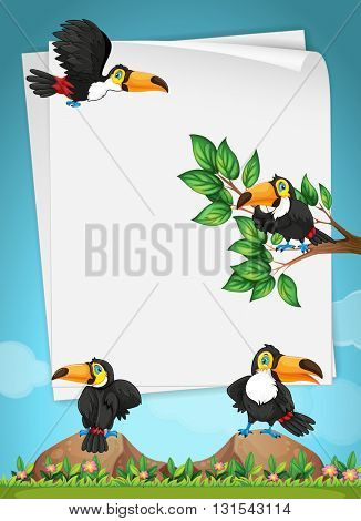 Paper design with toucans flying illustration