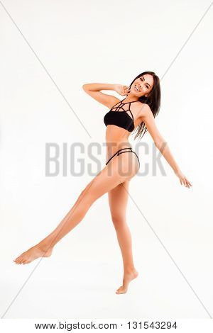 Happy Healthy Young Woman With Fit Body Doing Exercises