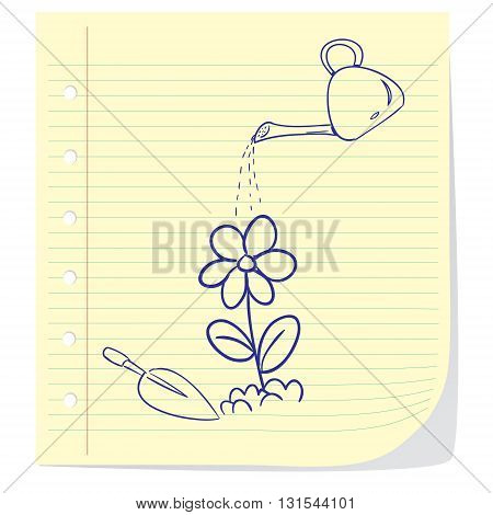 Vector illustration of flower planting in doodle cartoon style