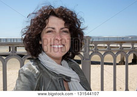 Cheerful Relaxed Woman Breathing Fresh Air On Vacation