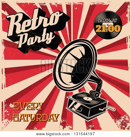 Retro party vintage poster template. Design element in vector.