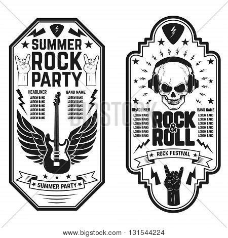Rock and roll concert flyer templates. Summer rock and roll party. Design element for flyer poster emblem.