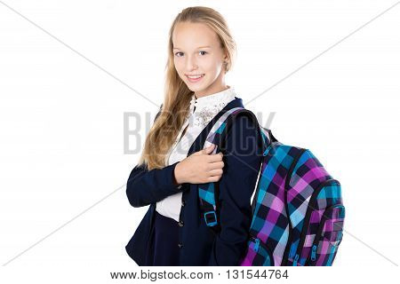 Smiling School Girl With Checkered Rucksack