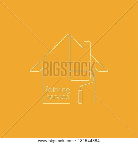 Vector icon with paint roller and house. The symbol of painting and home repairs. Linear icon. Thin line. Painting roller