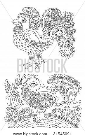 original black and white line art rooster drawing, page of coloring book bird joy to older children and adult colorists, who like line art and creation, vector illustration