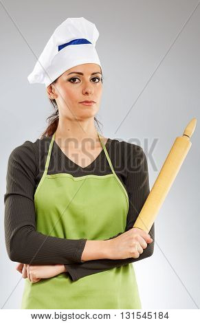 Woman Cook With Rolling Pin