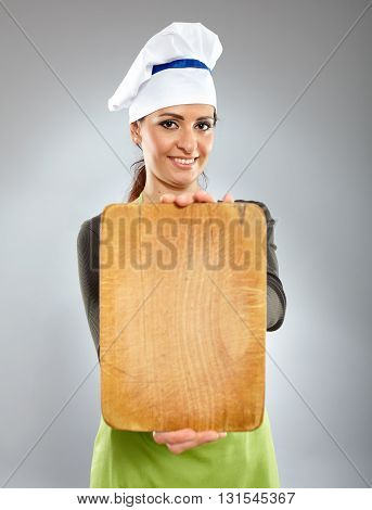 Happy Woman Chef Holding A Board