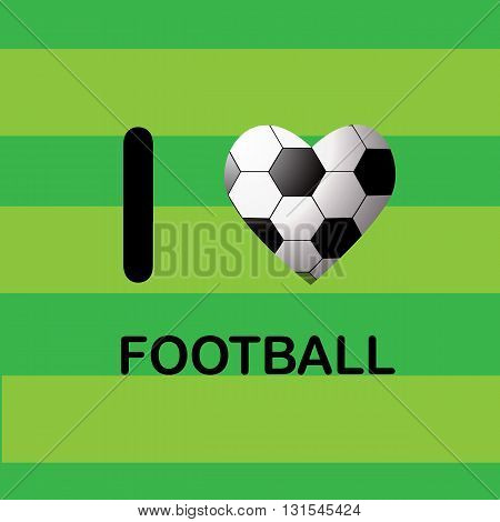 Sports background with soccer ball in the shape of heart. Vector illustraion