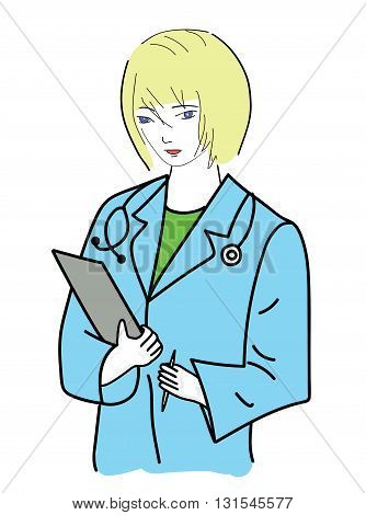 woman medic. doctor on white background. vector