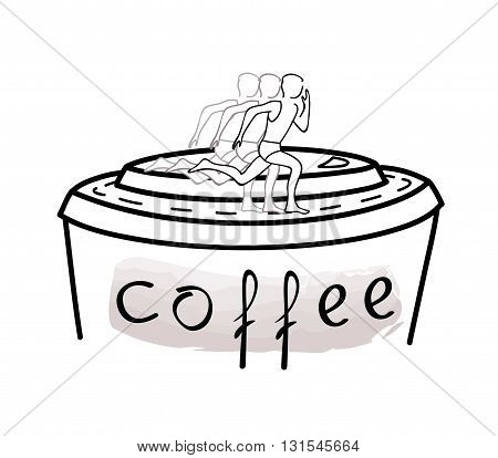 Concept illustration of running man on a cup of coffee. Charging brain caffeine. Everyone needs coffee. Vector illustration