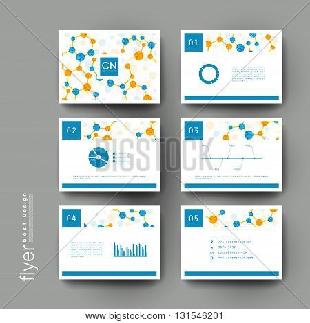 DNA molecule vector brochure template. Flyer Layout. Creative modern design