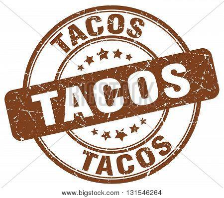 Tacos Brown Grunge Round Vintage Rubber Stamp.tacos Stamp.tacos Round Stamp.tacos Grunge Stamp.tacos
