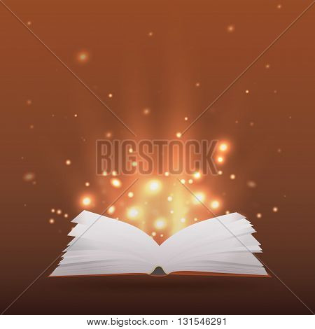 Illustration with open book rays of light and sparkles for your creativity