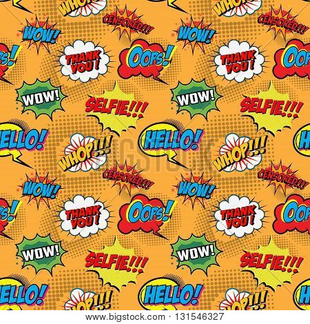 Seamless pattern from comic style phrases on colorful background. Oops! Wow! Selfie! Hello! Whop! Censored! Design element in vector.