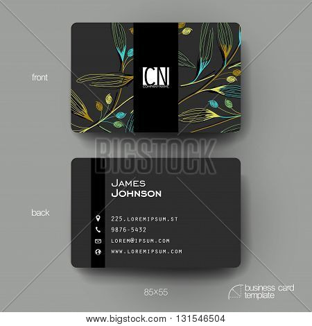 Business card vector template with autumn leaf ornament background. Creative modern design