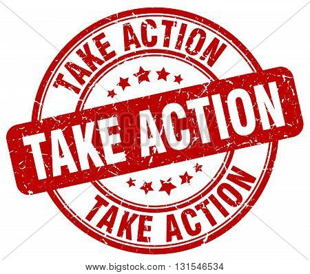 Take Action Red Grunge Round Vintage Rubber Stamp.take Action Stamp.take Action Round Stamp.take Act