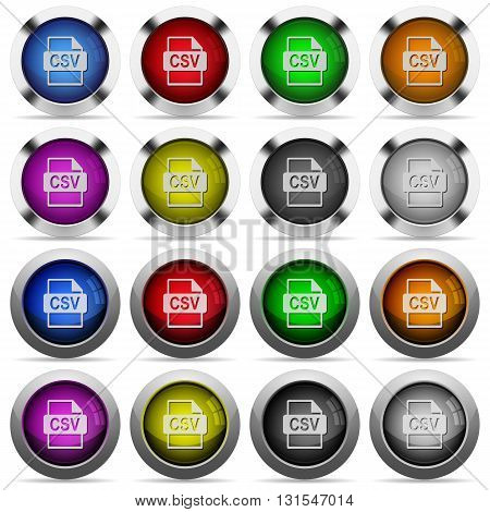 Set of CSV file format glossy web buttons. Arranged layer structure.