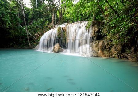 Waterfall in deep forest / waterfall with long exposure time technic
