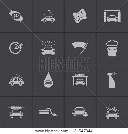 Vector black car wash icons set on grey background