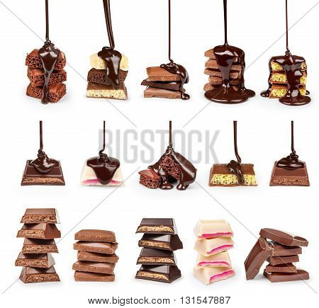 A collection of streams of hot chocolate on a stack of slices of chocolate isolated on white background