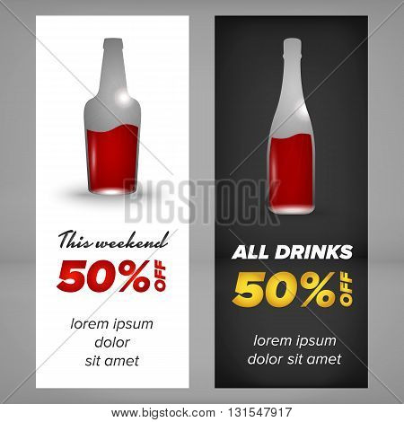 Alcohol banner design with bottle of wiskey and champagne