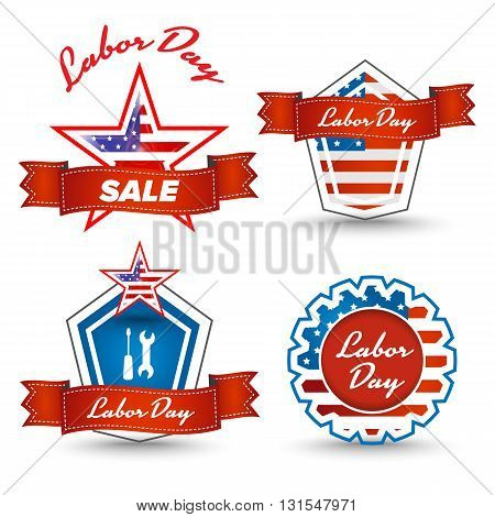 Labor day stickers set with american flag and star
