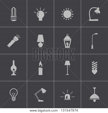 Vector black light icons set on grey background