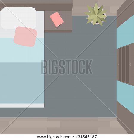 Flat illustration bedrooms with furniture and a view from above