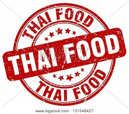 Thai Food Red Grunge Round Vintage Rubber Stamp.thai Food Stamp.thai Food Round Stamp.thai Food Grun