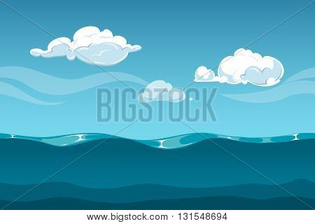 Sea or ocean cartoon landscape with sky and clouds. Seamless water waves background for computer game design. Landscape with water waves and cloud vector illustration