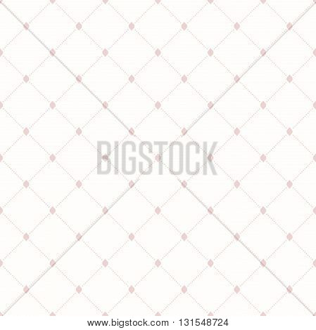Geometric repeating ornament with pink diagonal dotted lines. Seamless abstract modern pattern