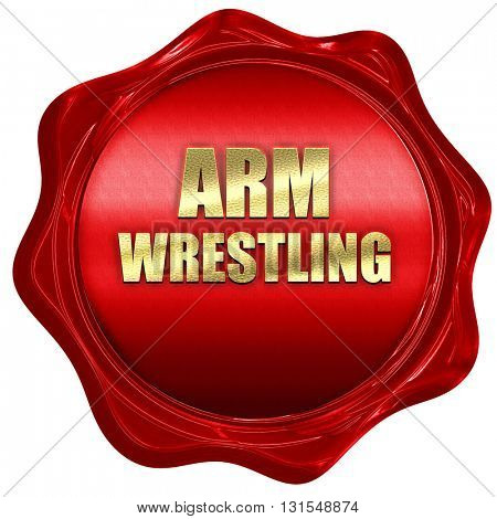 arm wrestling sign background, 3D rendering, a red wax seal