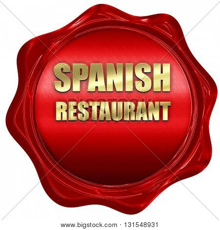 Delicious spanish cuisine, 3D rendering, a red wax seal