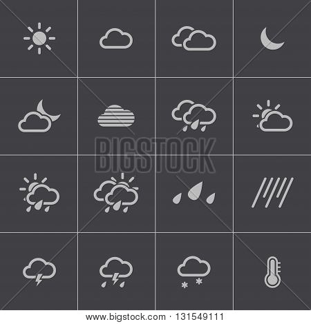 Vector black weather icons set on gray background