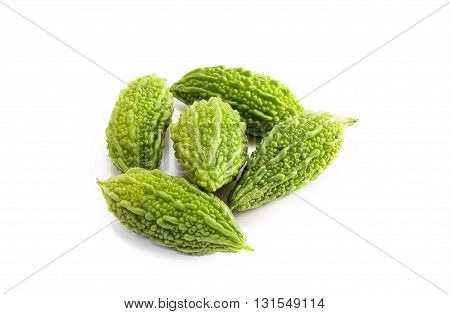 Bitter Melon Or Bitter Gourd  On White Background