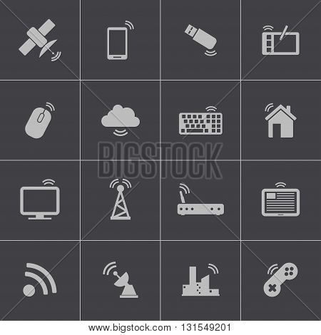 Vector black wireless icons set on grey background
