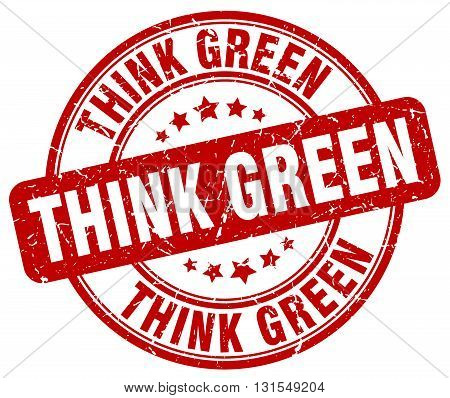 Think Green Red Grunge Round Vintage Rubber Stamp.think Green Stamp.think Green Round Stamp.think Gr