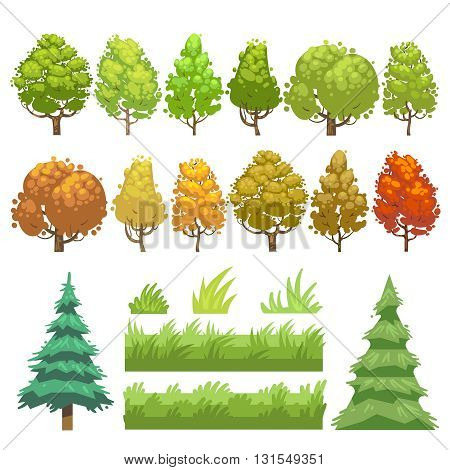 Trees and grass flat vector icons set. Green plant tree and nature grass, element for wood forest grass and tree illustration