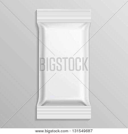 Flow blank white pack vector template. Pack paper envelope and wrap pack closed bag illustration