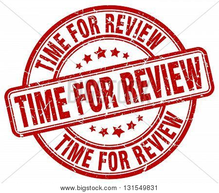 Time For Review Red Grunge Round Vintage Rubber Stamp.time For Review Stamp.time For Review Round St