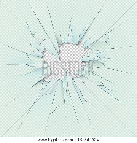 Broken transparent glass on checkered plaid background. Vector stock illustration. Glass transparent broken or window glass destruction hole template