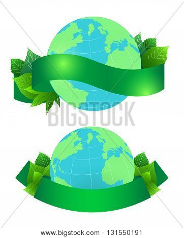 Vector illustration of planet Earth with leaves and green ribbon for text. Vector element for your design