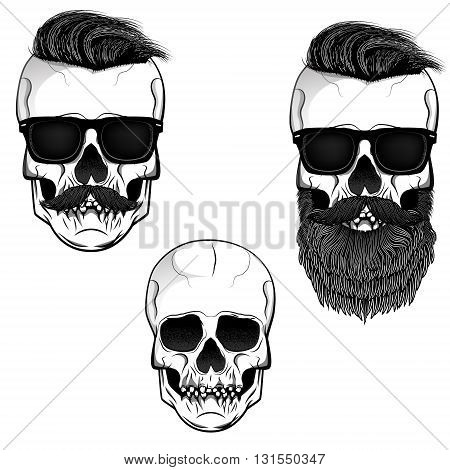 Set of skulls with beard moustache and sunglases. Design elements for t-shirt print poster template. Vector illustration.