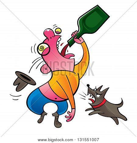 Alcoholic - drinking man and barking dog