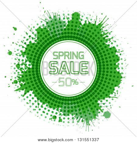 Banner for the spring sale with green splashes and halftones. Vector element for your design