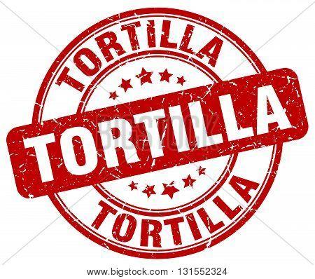 Tortilla Red Grunge Round Vintage Rubber Stamp.tortilla Stamp.tortilla Round Stamp.tortilla Grunge S
