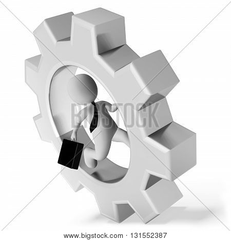 Rat Race Indicates Gear Wheel And Cogwheel 3D Rendering