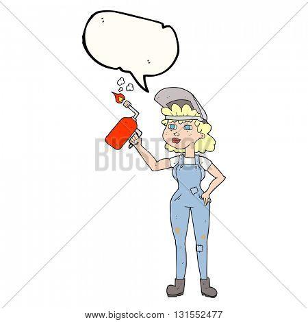 freehand drawn speech bubble cartoon woman welding