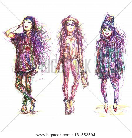 street fashion, sketch by hand in a careless style